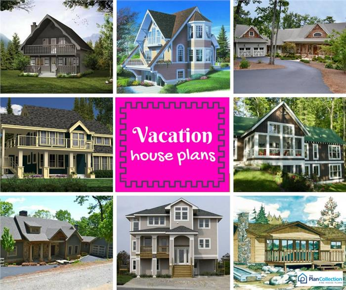 Eight homes illustrating an article about vacation homes