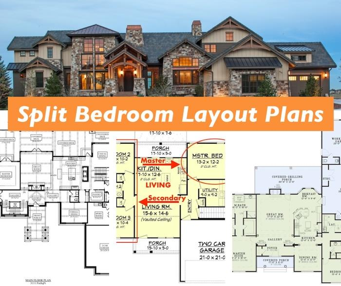 Rustic home and 3 floor plans illustrating article about split-bedroom-layout floor plans