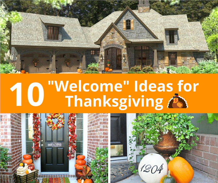 Collage of 3 photos illustrating Thanksgiving decor ideas