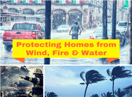 Montage of 3 photographs illustrating article about homes resisting wind, fire, and water