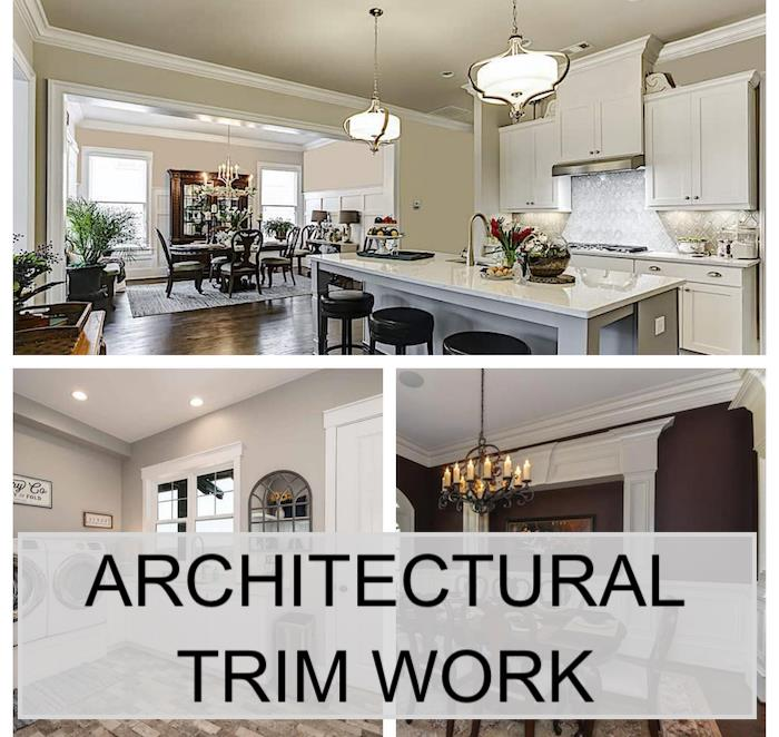 Three home interiors illustrating article about using architectural trim work in homes