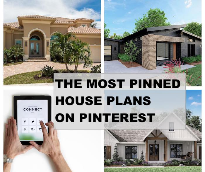 Person pinning a house plan on Pinterest