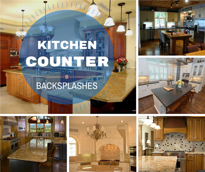 Montage of images illustrating handsome kitchen backsplashes