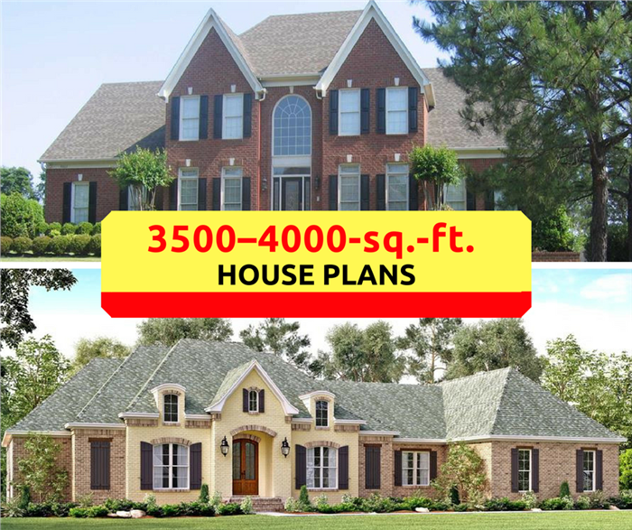 Montage of 2 photographs illustrating article about 3500-4000-sq.-ft. house plans