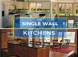 Montage of 2 photographs illustrating single wall kitchens