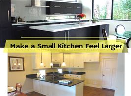 Montage of two photographs illustrating small kitchens that seem larger