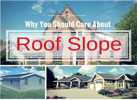 Montage of 3 photographs of houses illustrating article about roof slope