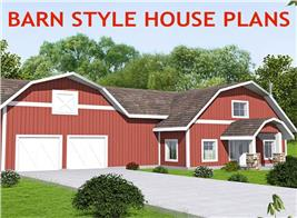 Red-colored gambrel-roof house illustrating article on barn style homes