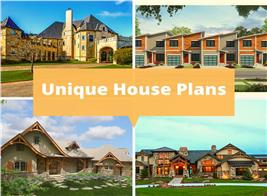 Four homes that illustrate article about unique house plans