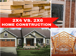 Montage of 4 images illustrating article about 2x4 vs. 2x6 wall construction