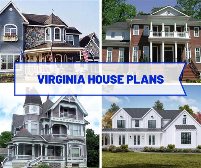 Four houses of different style illustrating article about Virginia house plans