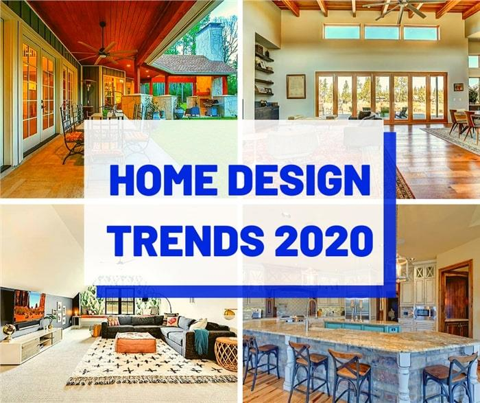 Four interiors of home illustrating article about home design trends