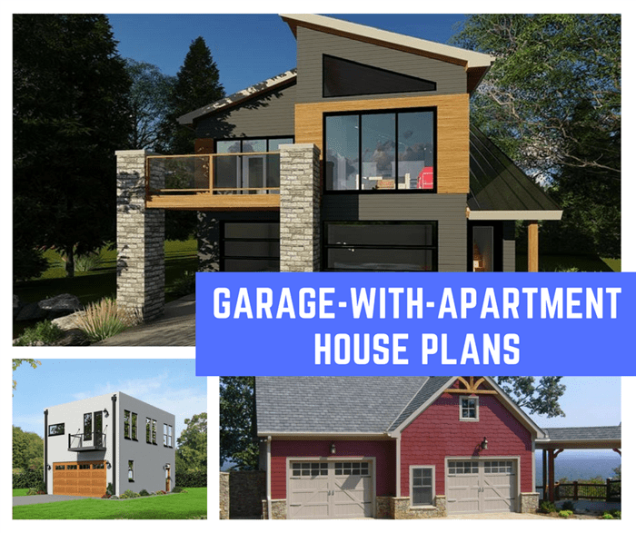 Montage of 3 photographs illustrating article on garage-with-apartment house plans