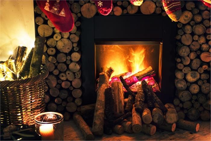 Christmas tree at home with lights