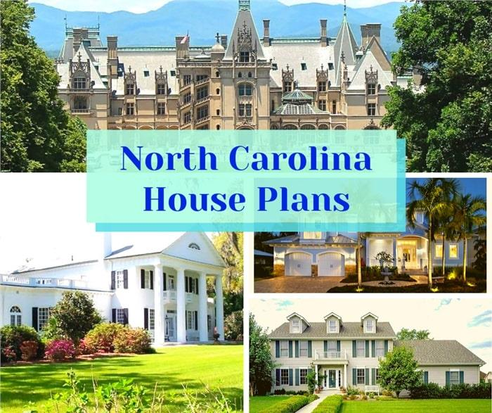 Four homes illustrating article about North Carolina House Plans