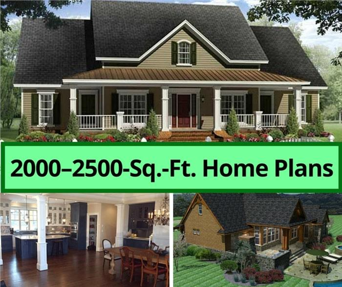 Highlights from our collection of 2000 to 2500 square foot house plans at The Plan Collection. Includes ranch, cottage, country and modern homes.