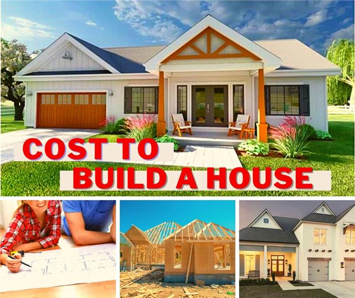 Montage of 3 houses and a young couple looking at blueprints illustrating article on the cost to build a house