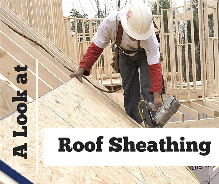 Image of a carpenter installing roof sheathing