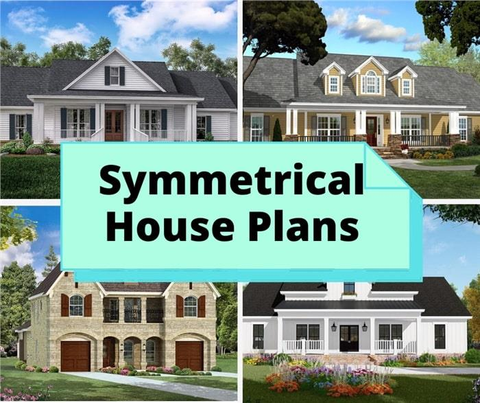 Four symmetrically designed houses illustrating article about architectural symmetry