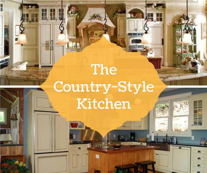 Montage of 2 photographs illustrating article on Country style kitchens