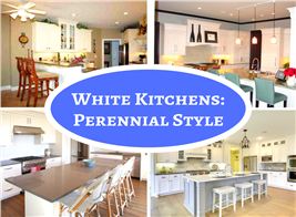 Montage of 4 photos illustrating white kitchens
