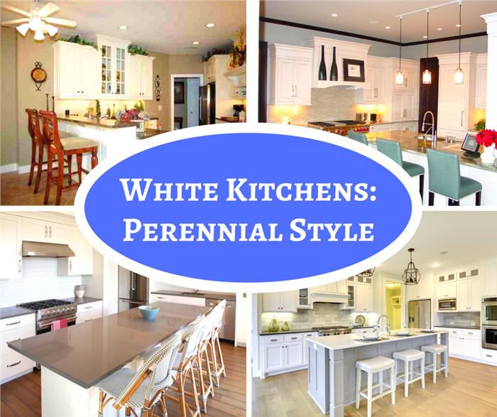 Montage of 4 photos illustrating white kitchens