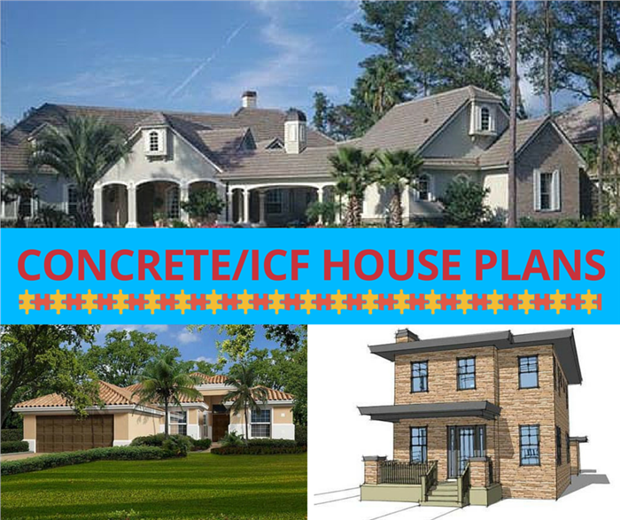 Photo collection of houses illustrating concrete / ICF house plans from The Plan Collection.