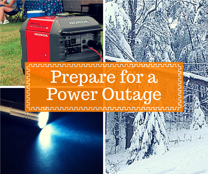 Montage of 3 photos illustrating article about preparing for a power outage