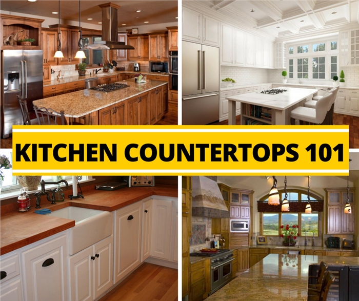 Montage of 4 photos illustrating kitchen countertops