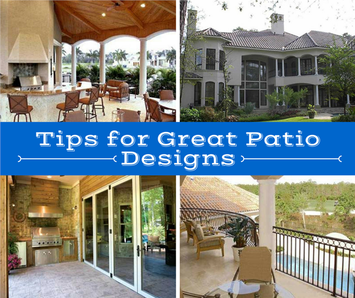 Patio ideas shown in a collage of 4 photos
