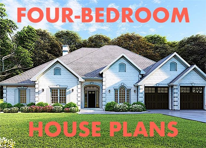 White Ranch style home illustrating article about 4-bedroom house plans