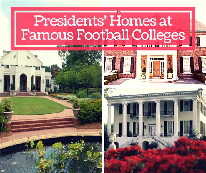 Montage of 2 photos illustrating SEC University Presidents' Homes