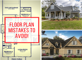 2 house photos and a floor plan illustrating an article on floor plan mistakes
