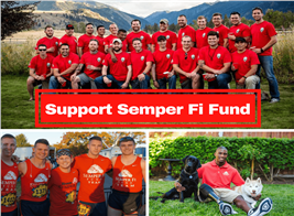 Montage of 3 photographs illustrating article about Semper Fi Fund