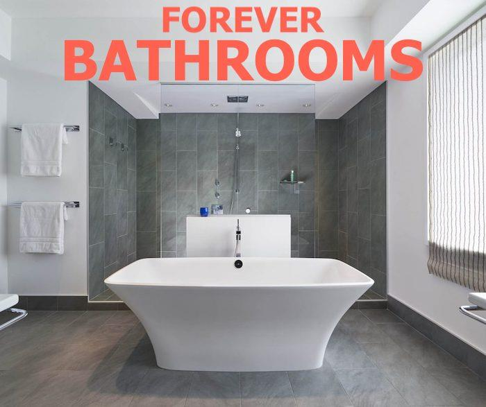 Modern bathroom illustrating article on bathrooms that age with homeowners
