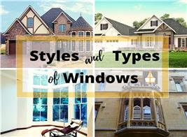 Four homes illustrating article about types of windows