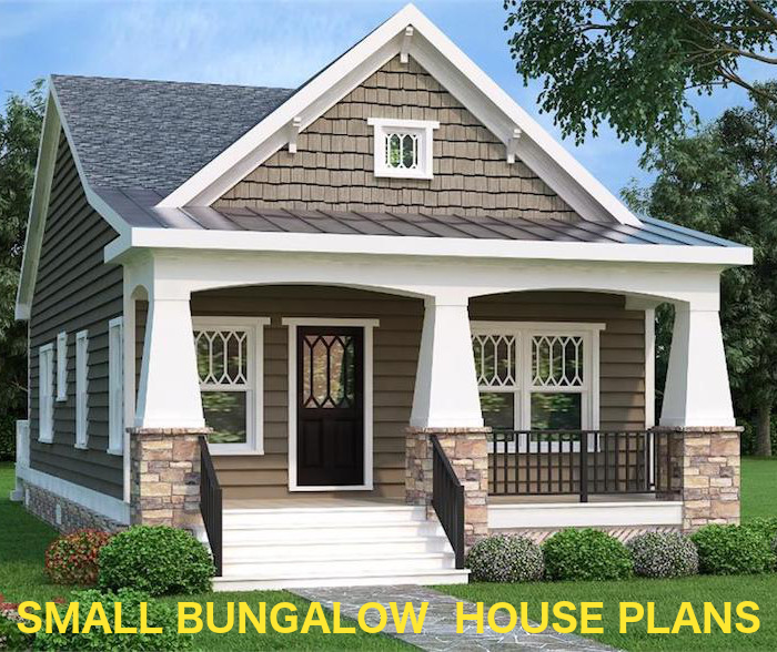 Small bungalow home (under 1000 square feet) with Craftsman detailing from The Plan Collection.