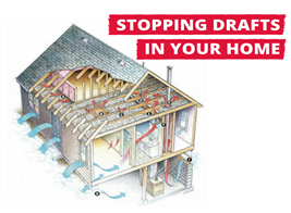 Drawing illustrating air leaks in a house
