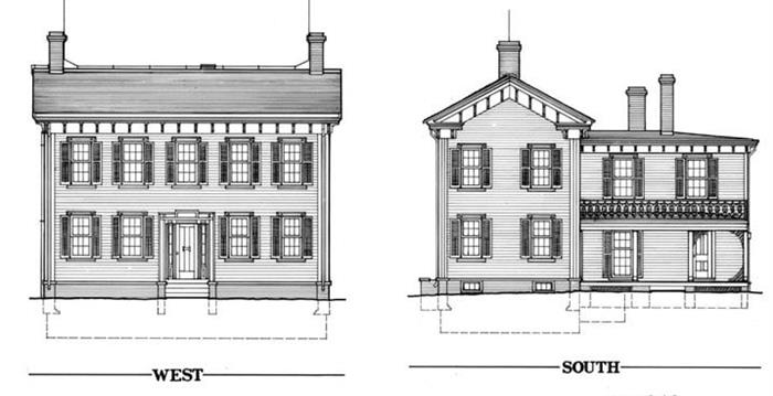 Plans for Lincoln's Greek Revival with Italianate details home in Springfield, Illinois