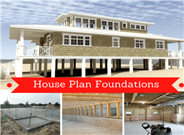 Montage of 4 photographs illustrating article on house foundations