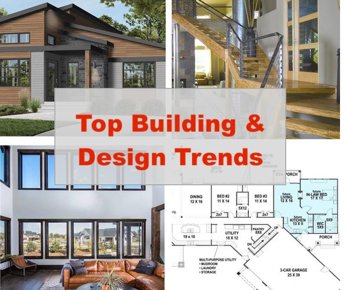 Two residential exteriors and two interiors illustrating article on home building and design trends