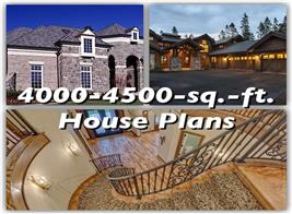 Two luxury houses and a beautiful staircase illustrate article on 4000-4500 sq. ft. house plans