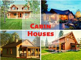 4 images of small homes illustrating article about cabins
