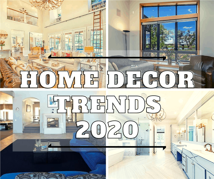 4 interiors of homes illustrating article about 2020 home decor trends