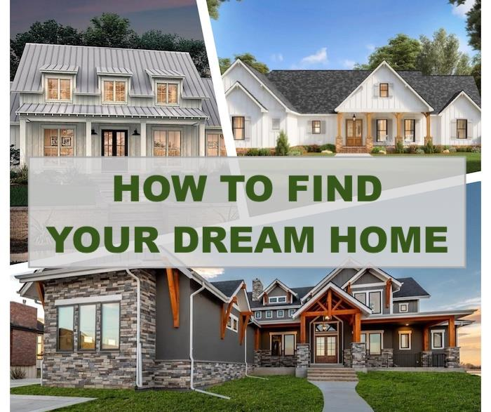 3 beautiful houses illustrating article about step-by-step house plan search