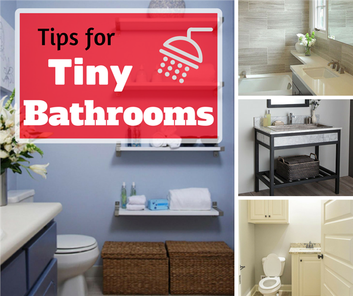 Montage of four photos illustrating tiny bathrooms