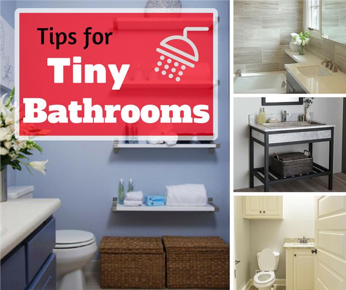 Montage of four photos illustrating tiny bathrooms