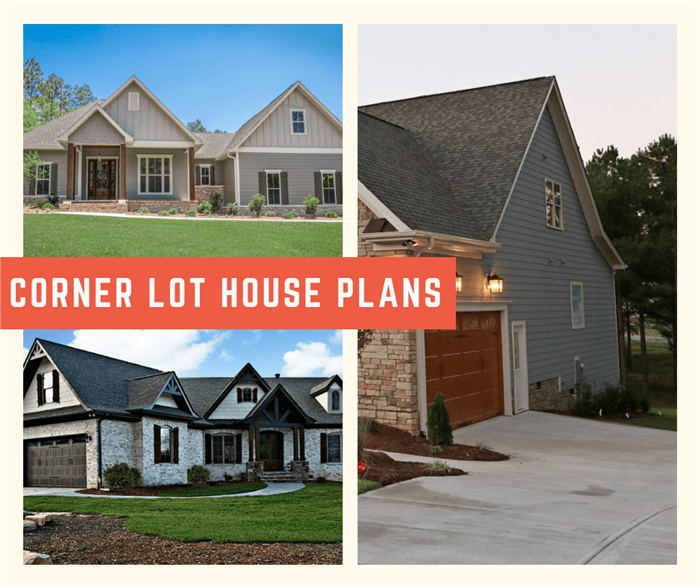 Three photos of houses arranged in a montage to illustrate article on corner lot home plans