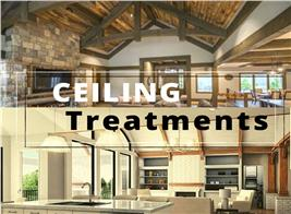four home interiors illustrating article about decorative ceiling treatments