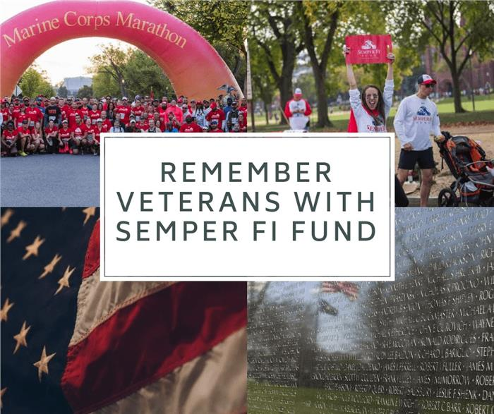 Montage of military images illustrating article about Semper Fi Fund